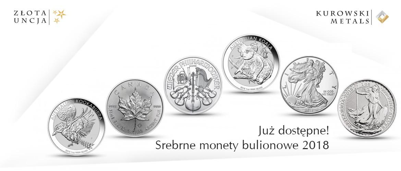 Srebrne monety bulionowe 2018